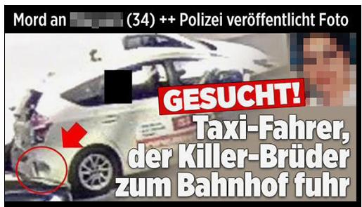 """Screenshot von der BILD.de-Startseite: """"Mord an [...] (34) ++ Polizei veröffentlicht Foto - GESUCHT! Taxi-Fahrer, der Killer-Brüder zum Bahnhof fuhr"""", dazu ein Foto des gesuchten Taxis sowie ein Porträtfoto der Frau"""