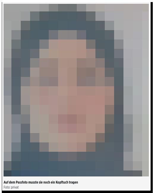 """Screenshot von BILD.de: Ein Foto der ermordeten Frau, dazu die Bildunterschrift: """"Auf dem Passfoto musste sie noch ein Kopftuch tragen - Foto: privat"""""""