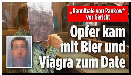 """Screenshot von der BILD.de-Startseite: """"'Kannibale von Pankow' vor Gericht - Opfer kam mit Bier und Viagra zum Date"""", dazu ein Foto des Verdächtigen vor Gericht, der sein Gesicht mit einem Ordner bedeckt, sowie ein Porträtfoto des Opfers"""