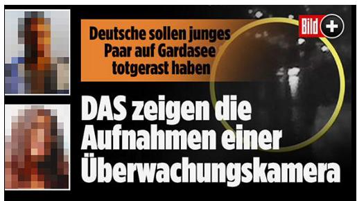 """Screenshot von der BILD.de-Startseite: """"Deutsche sollen junges Paar auf Gardasee totgerast haben - DAS zeigen die Aufnahmen einer Überwachungskamera"""", dazu ein Bild der Überwachungskamera sowie zwei Porträtfotos der Opfer"""