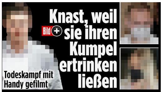 """Screenshot von der BILD.de-Startseite: """"Knast, weil sie ihren Kumpel ertrinken ließen"""", dazu ein großes Foto des Opfer, zwei Fotos der Angeklagten sowie das Bild-Plus-Logo"""