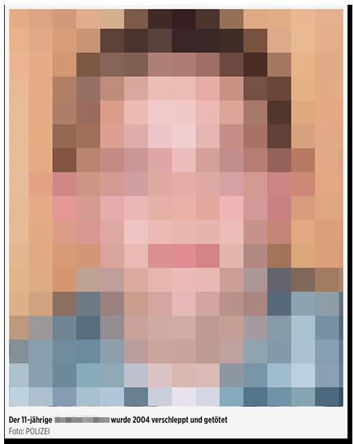 """Screenshot von BILD.de: Ein großes Porträtfoto des Jungen, dazu die Bildunterschrift: """"Der 11-jährige [Name] wurde 2004 verschleppt und getötet"""""""