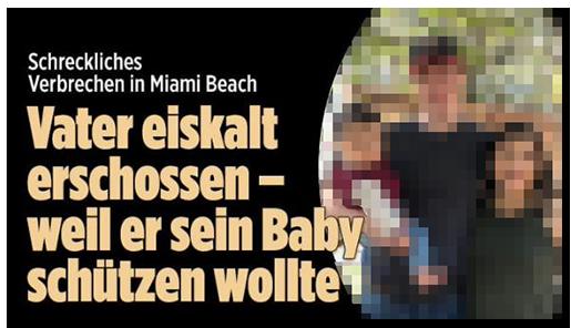 """Screenshot von der BILD.de-Startseite: """"Vater eiskalt erschossen - weil er sein Baby schützen wollte"""", dazu ein großes Foto der Familie"""