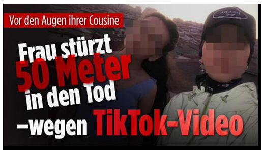 """Screenshot von der BILD.de-Startseite: """"Vor den Augen ihrer Cousine - Frau stürzt 50 Meter in den Tod - wegen TikTok-Video"""""""