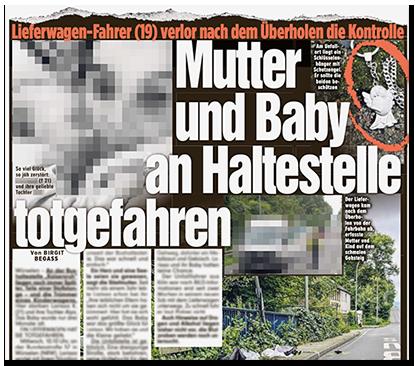 """Ausriss aus der BILD-Zeitung: """"Mutter und Baby an Haltestelle totgefahren"""", dazu mehrere Fotos des Unfallorts sowie ein großes Foto der Mutter uns ihres Kindes"""