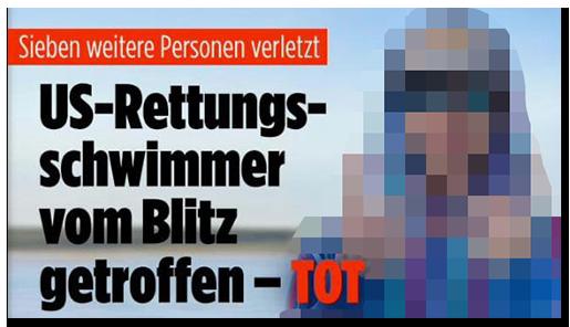 """Screenshot von der BILD.de-Startseite: """"US-Rettungsschwimmer vom Blitz getroffen - tot"""", dazu ein großes Foto des Mannes"""