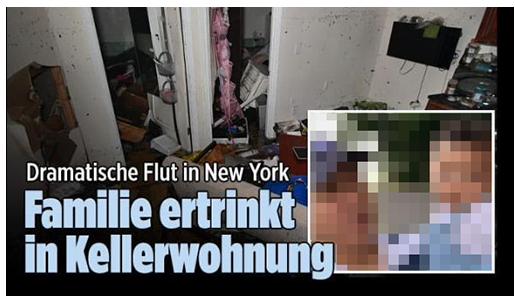 """Screenshot von der BILD.de-Startseite: """"Dramatische Flut in New York - Familie ertrinkt in Kellerwohnung"""", dazu ein Foto der zerstörten Wohnung sowie ein Foto des Mannes und seines Kindes"""