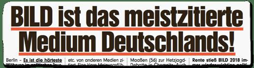 Ausriss Bild-Titelseite - Bild ist das meistzitierte Medium Deutschlands!