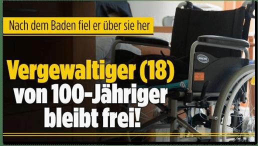 Screenshot Bild.de - Nach dem Baden fiel er über sie her - Vergewaltiger (18) von 100-Jähriger bleibt frei!