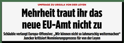 Screenshot BILD.de: Umfrage zu Ursula von der Leyen - Mehrheit traut ihr das neue EU-Amt nicht zu