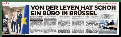 Ausriss BILD: Von der Leyen hat schon ein Büro in Brüssel