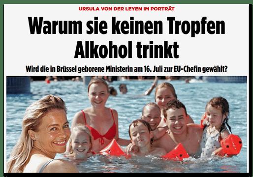 Screenshot BILD.de: Ursula von der Leyen im Porträt - Warum sie keinen Tropfen Alkohol trinkt - Wird die in Brüssel geborene Ministerin am 16. Juli zur EU-Chefin gewählt?