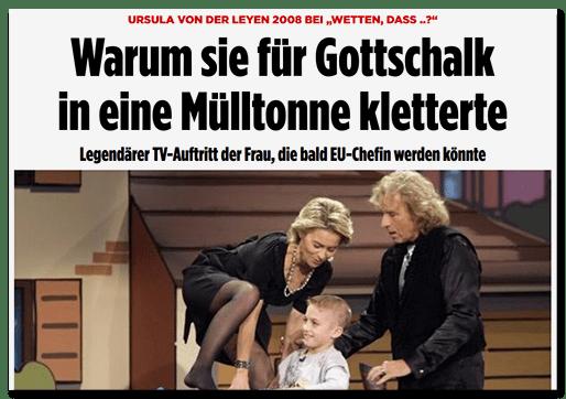 """Screenshot BILD.de: Ursula von der Leyen 2008 bei """"Wetten, dass..?"""" - Warum sie für Gottschalk in eine Mülltonne kletterte - Legendärer TV-Auftritt der Frau, die bald EU-Chefin werden könnte"""