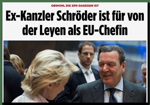 Screenshot BILD.de: Obwohl die SPD dagegen ist - Ex-Kanzler Schröder ist für von der Leyen als EU-Chefin