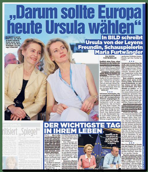 """Ausriss BILD: """"Darum sollte Europa heute Ursula wählen"""" - In BILD schreibt Ursula von der Leyens Freundin, Schauspielerin Maria Furtwängler"""