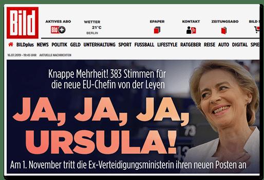 Screenshot BILD.de: JA, JA, JA, URSULA! - Am 1. November tritt die Ex-Verteidigungsministerin ihren neuen Posten an
