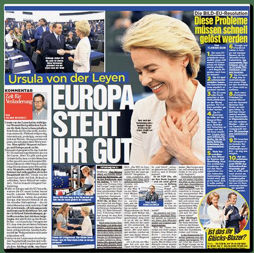 Ausriss BILD: Ursula von der Leyen - Europa steht ihr gut
