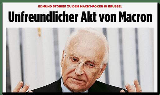 Screenshot BILD.de: Edmund Stoiber zu dem Macht-Poker in Brüssel - Unfreundlicher Akt von Macron