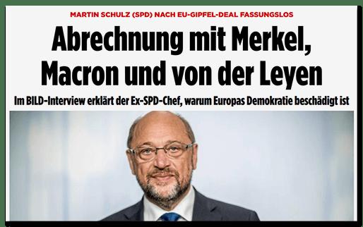 Screenshot BILD.de: Martin Schulz (SPD) nach EU-Gipfel-Deal fassungslos - Abrechnung mit Merkel, Macron und von der Leyen - Im BILD-Interview erklärt der Ex-SPD-Chef, warum Europas Demokratie beschädigt ist