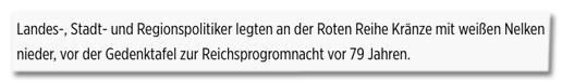 Screenshot Bild.de - Landes-, Stadt- und Regionspolitiker legten an der Roten Reihe Kränze mit weißen Nelken nieder, vor der Gedenktafel zur Reichsprogromnacht vor 79 Jahren.