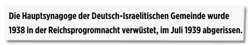 Screenshot Bild.de - Die Hauptsynagoge der Deutsch-Israelitischen Gemeinde wurde 1938 in der Reichsprogromnacht verwüstet, im Juli 1939 abgerissen.