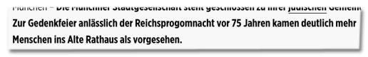 Screenshot Bild.de - Zur Gedenkfeier anlässlich der Reichsprogomnacht vor 75 Jahren kamen deutlich mehr Menschen ins Alte Rathaus als vorgesehen.