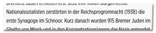 Screenshot Bild.de - Bremens Juden erhielten erst 1850 ihre vollen Bürgerrechte. Nationalsozialisten zerstörten in der Reichsprogromnacht (1938) die erste Synagoge im Schnoor.