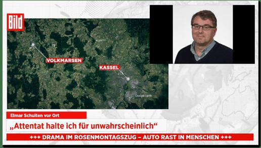 Screenshot von Bild live - Elmar Schulten vor Ort - Attentat halte ich für unwahrscheinlich