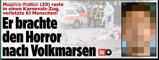 Screenshot Bild.de - M. (29) raste in einen Karnevals-Zug, verletzte 61 Menschen! Er brachte den Horror nach Volkmarsen