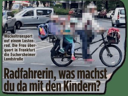 Ausriss Bild-Zeitung - Radfahrerin, was machst du da mit den Kindern?