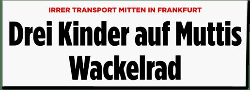 Screenshot Bild.de - Irrer Transport mitten in Frankfurt - Drei Kinder auf Muttis Wackelrad