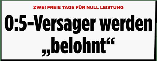 Screenshot Bild.de - Zwei freie Tage für null Leistung - 0:5-Versager werden belohnt