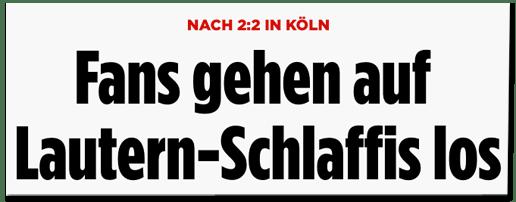 Screenshot Bild.de - Nach 2:2 in Köln - Fans gehen auf Lautern-Schlaffis los