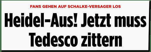 Screenshot Bild.de - Fans gehen auf Schalke-Versager los - Heidel-Aus! Jetzt muss Tedesco zittern