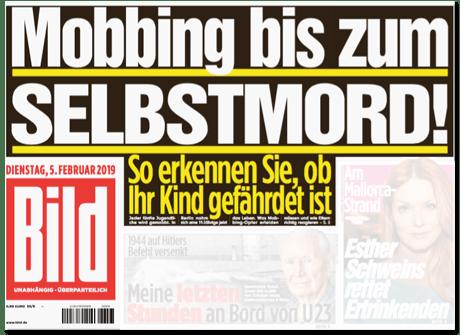 Ausriss Bild-Titelseite - Mobbing bis zum Selbstmord - So erkennen Sie, ob Ihr Kind gefährdet ist