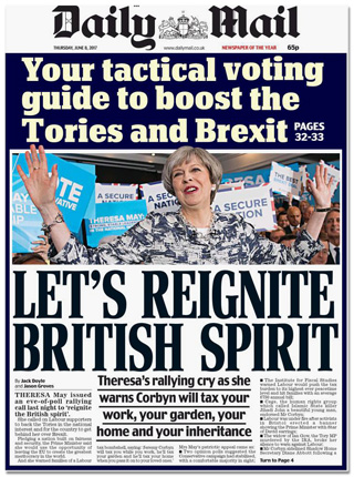 Titelseite Daily Mail - Your tactical voting guide to boost the Tories an Brexit - Let's reignite British spirit