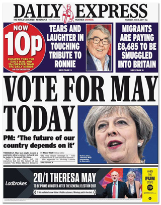 Titelseite Daily Express - Vote for May today