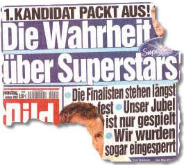 1. Kandidat packt aus! Die Wahrheit über Superstars: Die Finalisten stehen längst fest. Unser Jubel ist nur gespielt. Wir wurden sogar eingesperrt