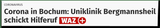 Screenshot WAZ.de - Coronavirus - Corona in Bochum: Uniklinik Bergmannsheil schickt Hilferuf