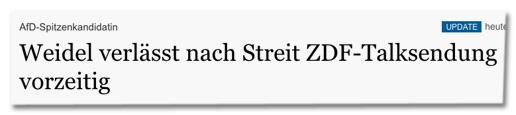 Screenshot Tagesspiegel.de - AfD-Spitzenkandidatin - Weidel verlässt nach Streit ZDF-Talksendung vorzeitig