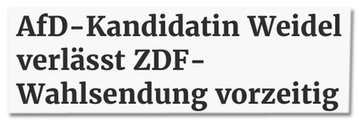 Screenshot saarbruecker-zeitung.de - AfD-Kandidatin Weidel verlässt ZDF-Wahlsendung vorzeitig