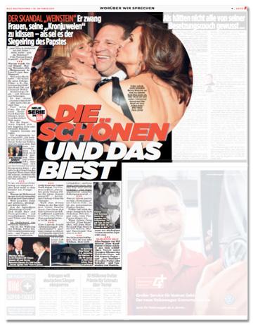 Ausriss Bild-Zeitung - Der Skandal Weinstein - Er zwang Frauen, seine Kronjuwelen zu küssen als sei es der Siegelring des Papstes - Die Schönen und das Biest