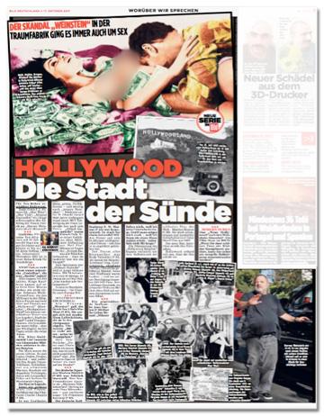 Ausriss Bild-Zeitung - Der Skandal Weinstein - In der Traumfabrik ging es immer auch um Sex - Hollywood, die Stadt der Sünde