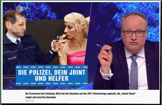 Screenshot Bild.de mit einem Screenshot aus der Heute Show - Die Polizei, dein Joint und Helfer