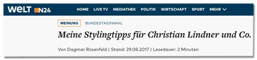 Screenshot Welt.de - Meinung - Bundestagswahl - Meine Stylingtipps für Christian Lindner und Co. - von Dagmar Rosenfeld