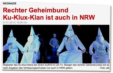 Rechter Geheimbund Ku-Klux-Klan ist auch in NRW: Mitglieder des Ku-Klux-Klans bei einem Auftritt im US-TV. Ableger des rechten Geheimbundes soll es nach Angaben des Verfassungsschutzes nun auch in NRW geben.