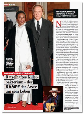 Ausriss Bunte-Titelseite - Marius Müller-Westernhagen - Rätselhaftes Killerbakterium - der Kampf der Ärzte um sein Leben