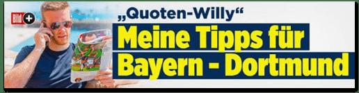 Screenshot Bild.de - Quotenwilly - Meine Tipps für Bayern München gegen Borussia Dortmund