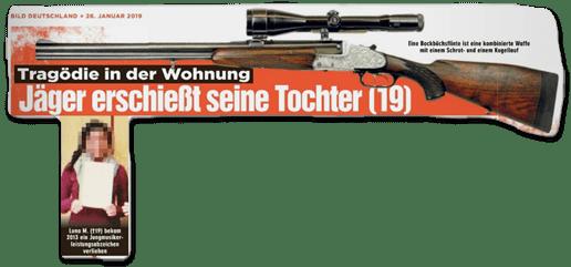 Ausriss Bild-Zeitung - Tragödie in der Wohnung - Jäger erschießt seine Tochter (19) - dazu ein unverpixeltes Foto der Tochter