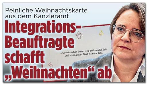 Screenshot Bild.de - Peinliche Weihnachtskarte aus dem Kanzleramt - Integrationsbeauftragte schafft Weihnachten ab